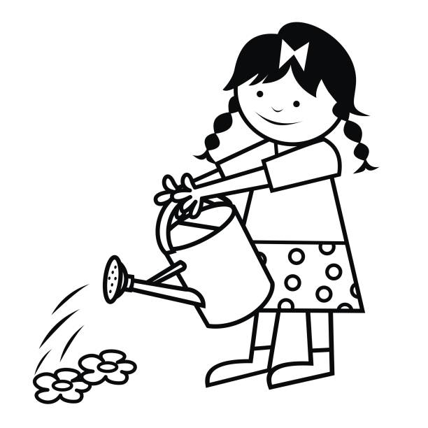 Boy Watering Plants Clipart Black And White.