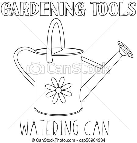 Line art black and white watering can..