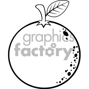 Royalty Free RF Clipart Illustration Black And White Orange Fresh Fruit  Cartoon Lines Drawing Vector Illustration Isolated On White Background.