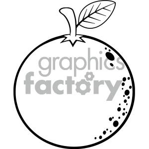 Royalty Free RF Clipart Illustration Black And White Orange Fresh Fruit  Cartoon Lines Drawing Vector Illustration Isolated On White Background.