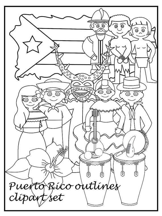 Puerto Rican Flag Clipart Bw.