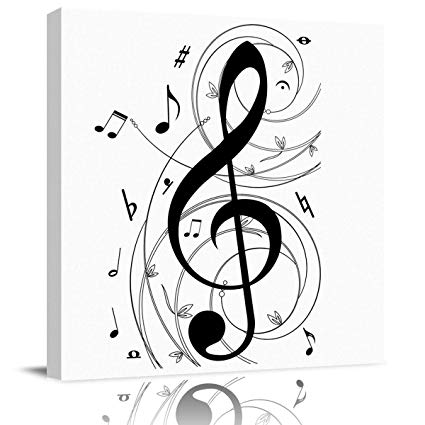 Amazon.com: BABE MAPS 16x16 in Wall Art Abstract Music Notes.