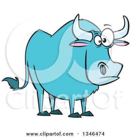 Clipart of a Cartoon Paul Bunyan's Babe the Blue Ox.
