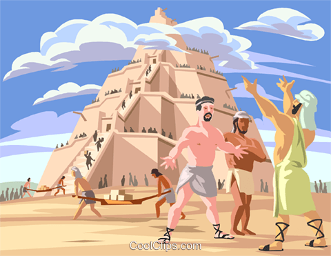 The Tower of Babel Royalty Free Vector Clip Art illustration.