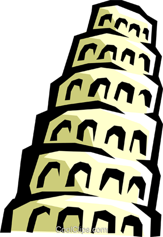 Tower of Babel Royalty Free Vector Clip Art illustration.