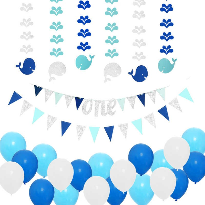 28pcs Blue Theme under the Sea Party Decoration Set Girl Boy.