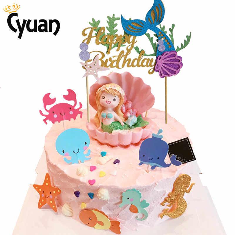 Happy Birthday Paper Cake Topper Mermaid Party Decorations Princess  Children Kids Party Supplies Seashell Starfish Cake Decor.