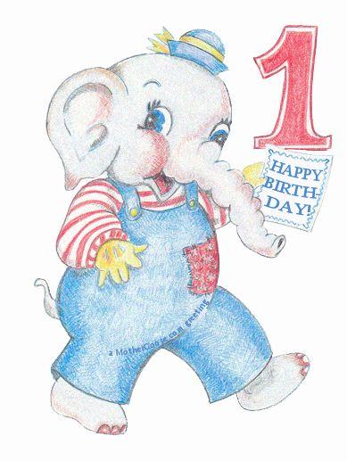 Elephant Happy 1st Birthday! free clip art for your creative.