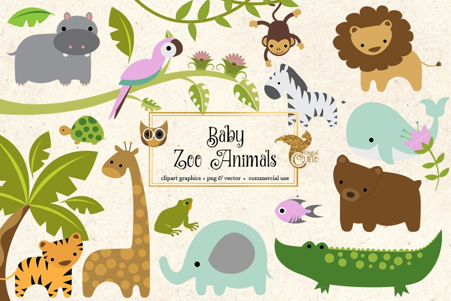 Baby Zoo Animals Clipart.