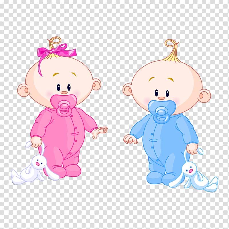 Two babies holding plush toy illustration, Infant Boy Girl.