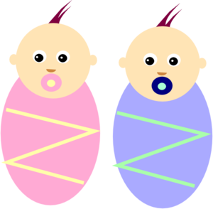 Twin babies clipart.