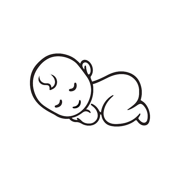 Sleeping Baby Clipart Black And White.