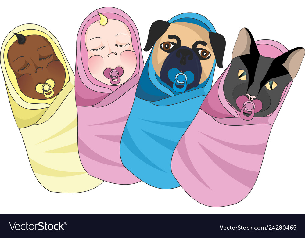 Swaddled babies clipart.
