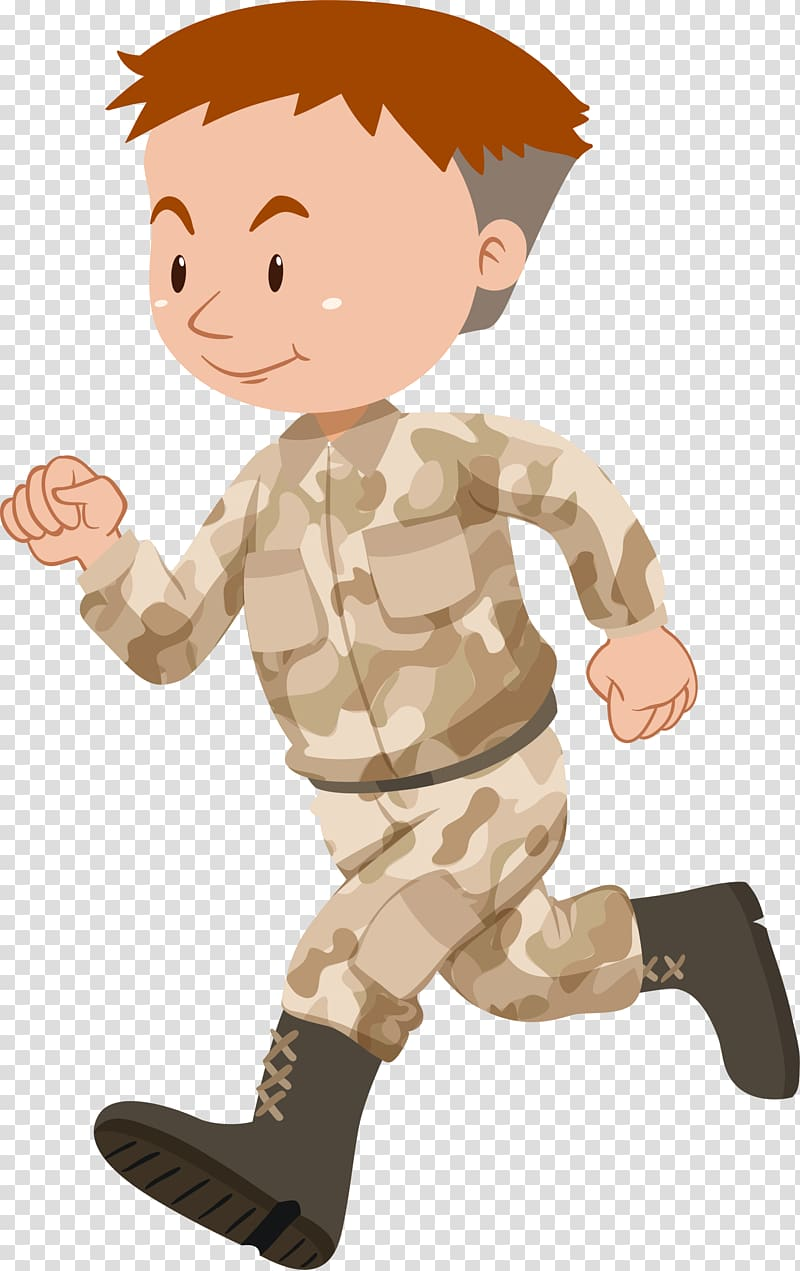 Soldier illustration Illustration, Yellow running soldiers.