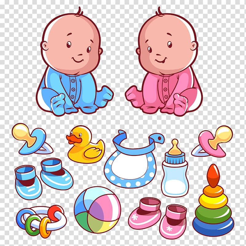 Two toddlers and toys illustration, Infant Child Toddler.