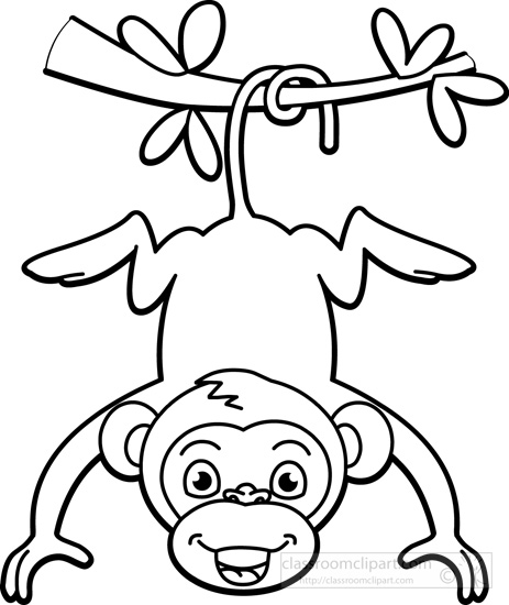 Black And White Clipart Of A Monkey.