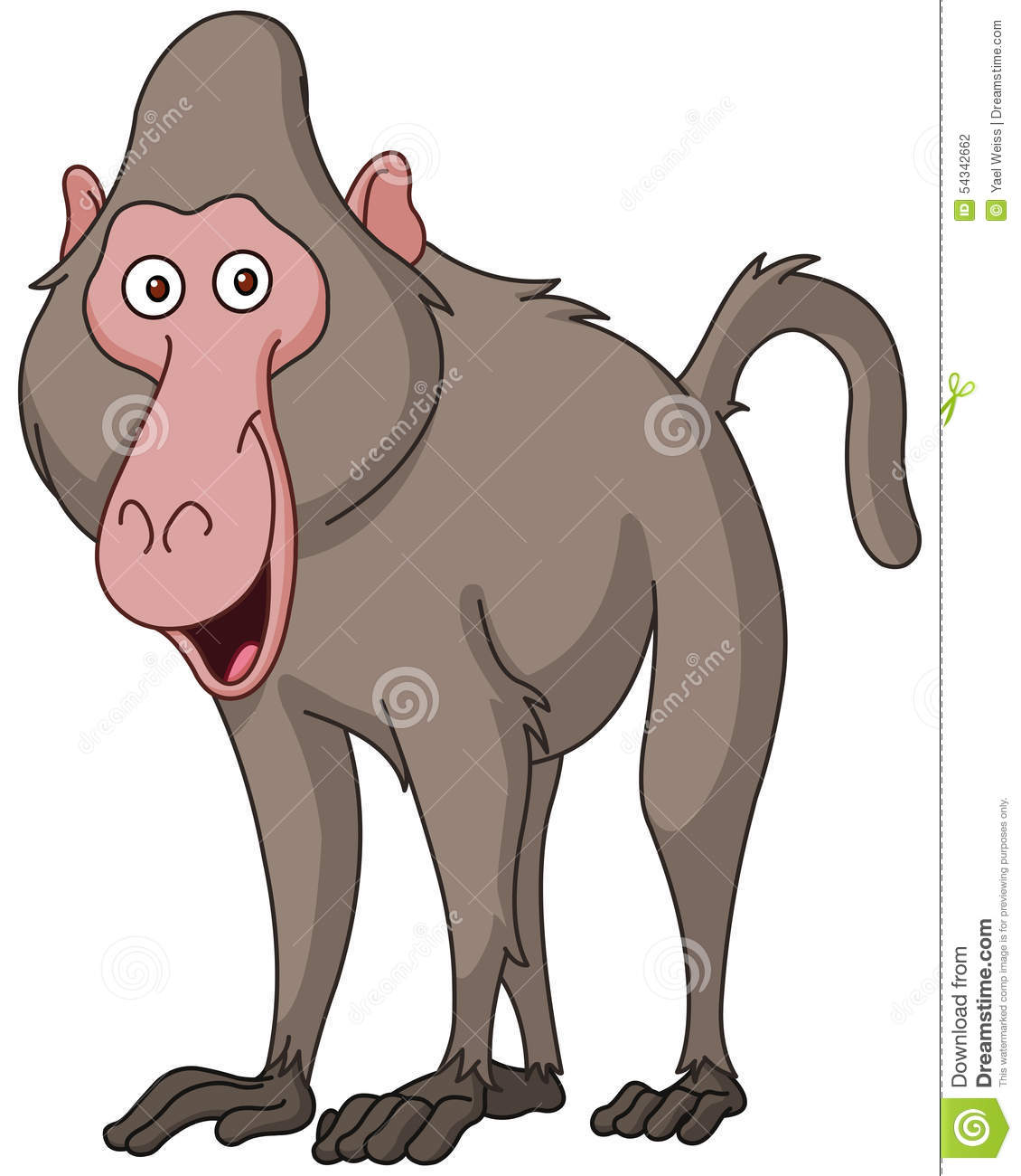 Smiling Baboon Stock Vector.