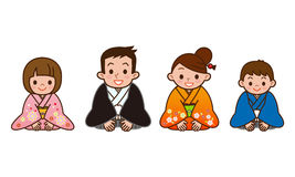 Baboon Family Formal Kimono Stock Illustrations.