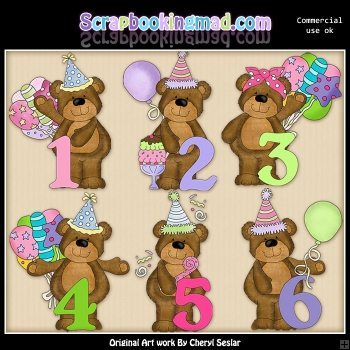 Babs Birthday Numbers ClipArt Graphic Collection.