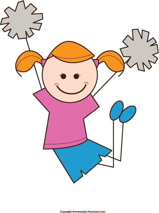 Cheerleader Stick Figure Clipart.