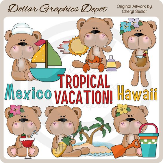 BoBo and Babs Bears Tropical Vacation Clip Art Collection.