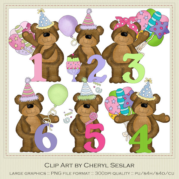 Bear numbers clipart.