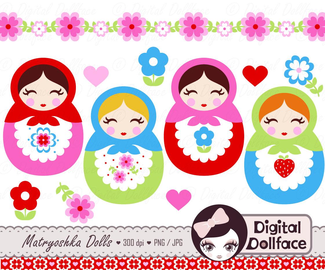 Cute Matryoshka Clip Art Babushka Russian Doll by DigitalDollface.