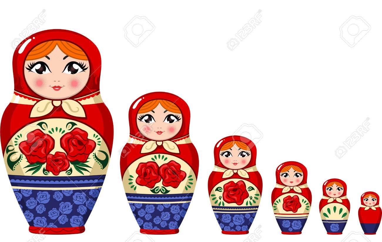 Matryoshka doll Russian nesting doll set vector illustration..
