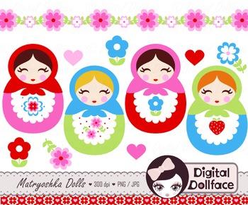 Matryoshka Doll Clip Art, Russian / Babushka Doll Clipart.