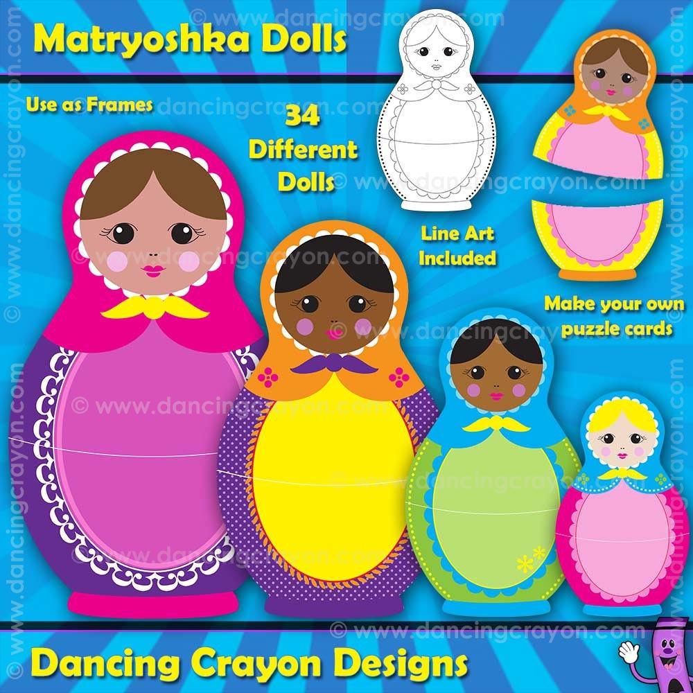 Matryoshka Dolls: Russian Nesting Dolls Clip Art.