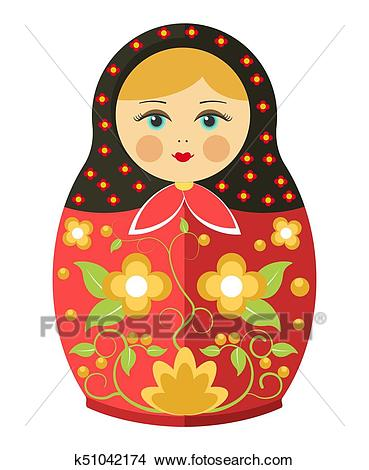 Matryoshka doll or Russian nesting doll floral traditional ornament vector  icon Clipart.