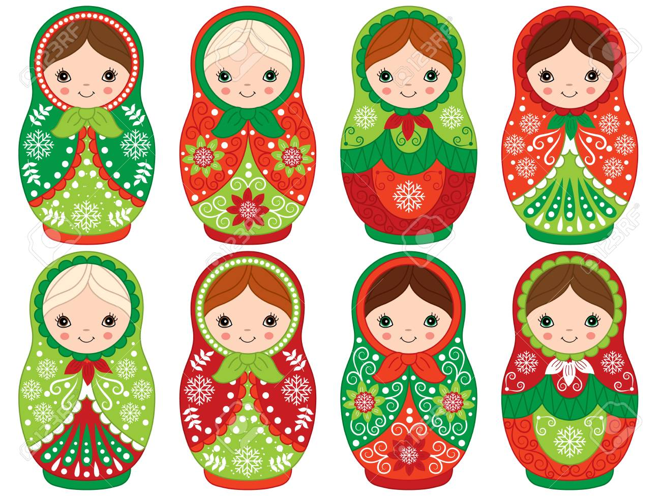Vector matryoshka set in red and green color, traditional Russian...