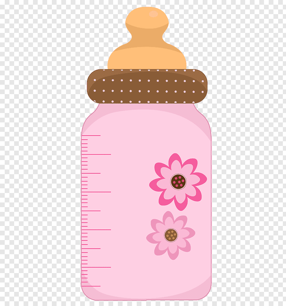 Pink and brown floral feeding bottle illustration, Diaper.