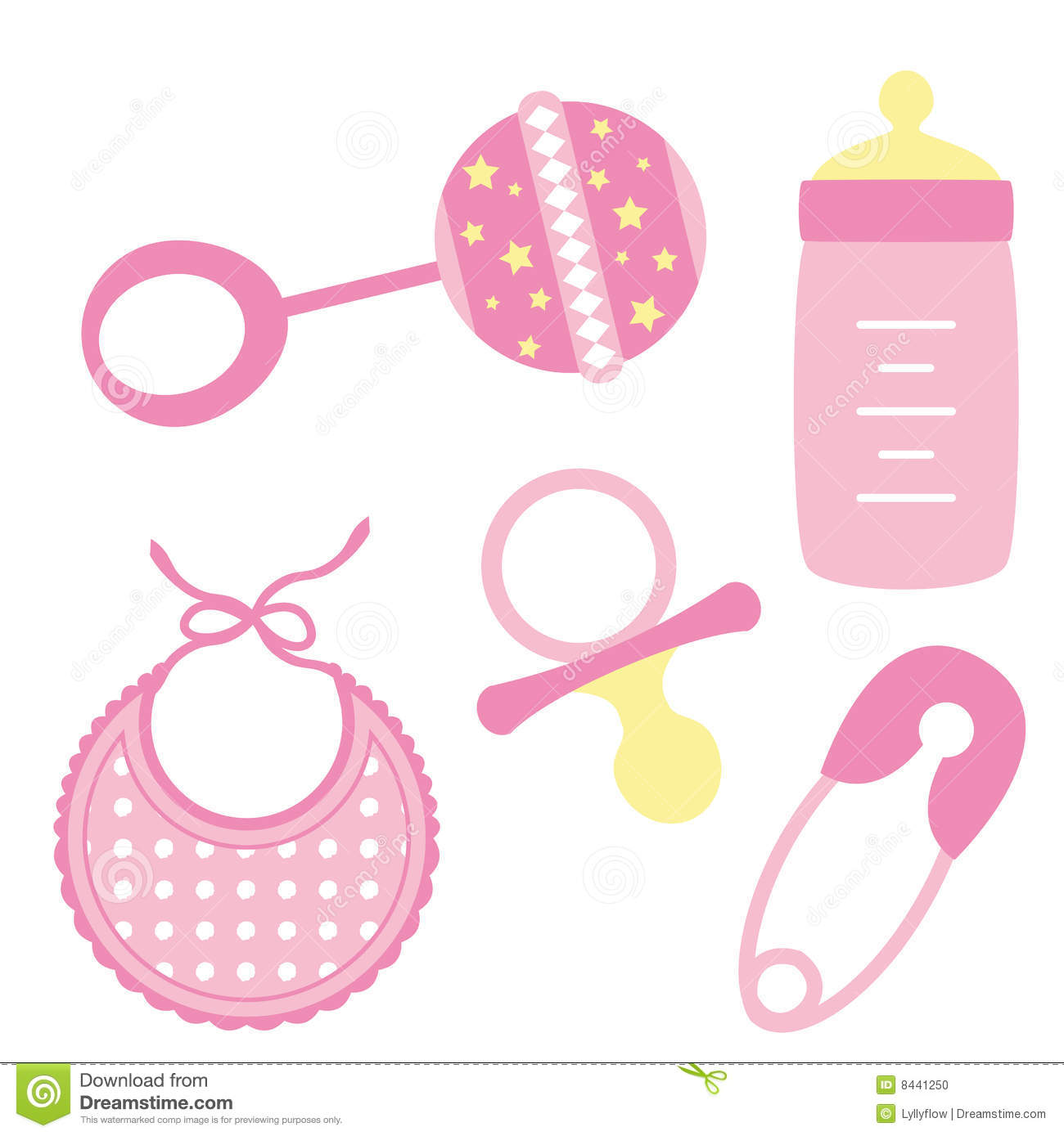 Baby Girl Accessories Clipart.