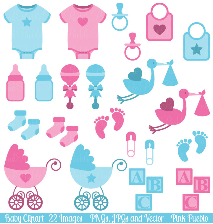 Baby accessories clip art.