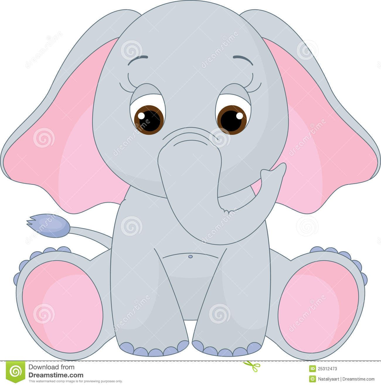 Illustration about Cute baby elephant sitting alone.