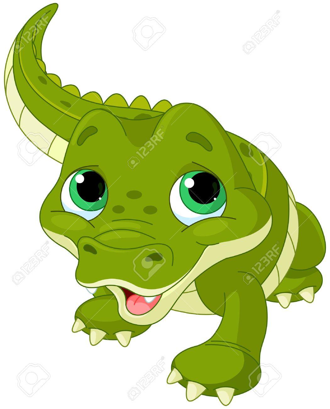 Illustration of very cute baby alligator.