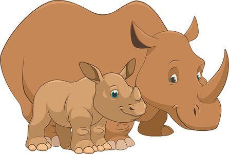 Adult rhino and baby Clipart Image.