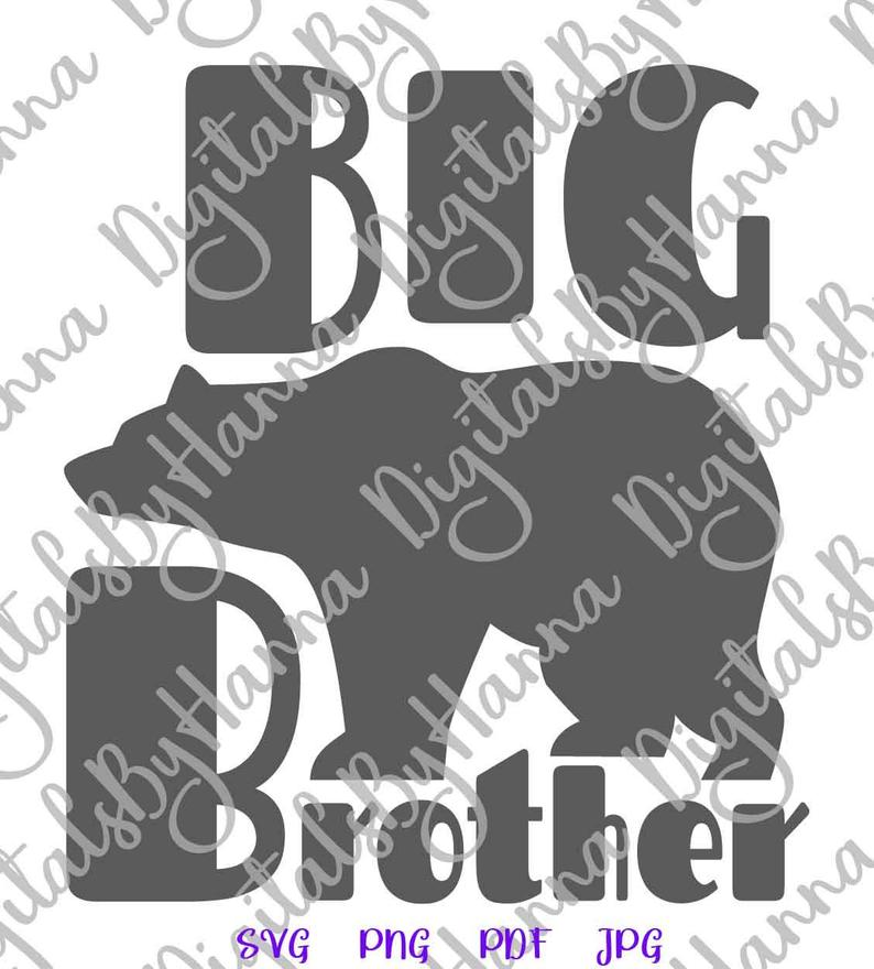 Bear Family SVG Big Brother New Baby Shower Promoted Bro Shirt Mug Print  Sublimation.