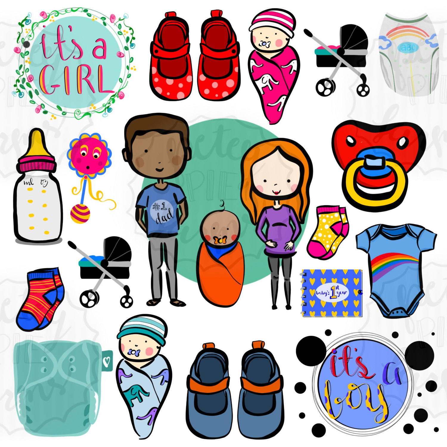 cute and colorful baby themed clip art with swaddled babies mom