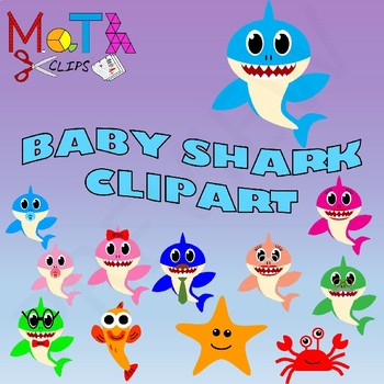 Baby Shark Family of Sharks Clipart.