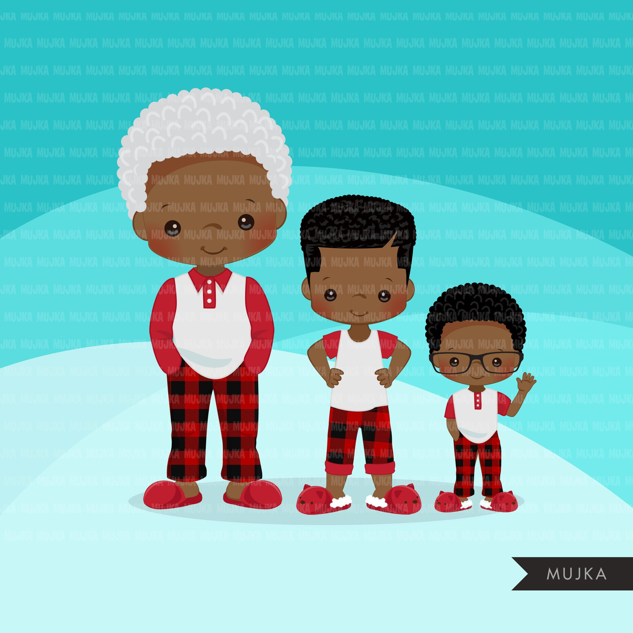 Christmas Pajama Black family clipart, portraits, mom, dad, grandparents,  baby, kids afro family graphics, plaid commercial use PNG.