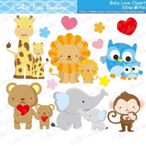 Baby Animals Clipart, Baby Love Clipart , Dad and Baby / Mom.