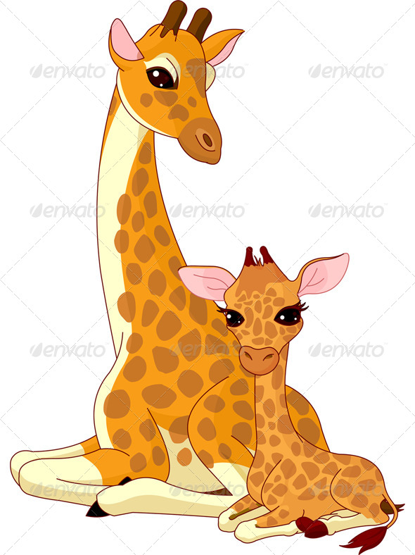 Baby And Mommy Giraffe Clipart Outline on Baby Zoo Animals Coloring Pages
