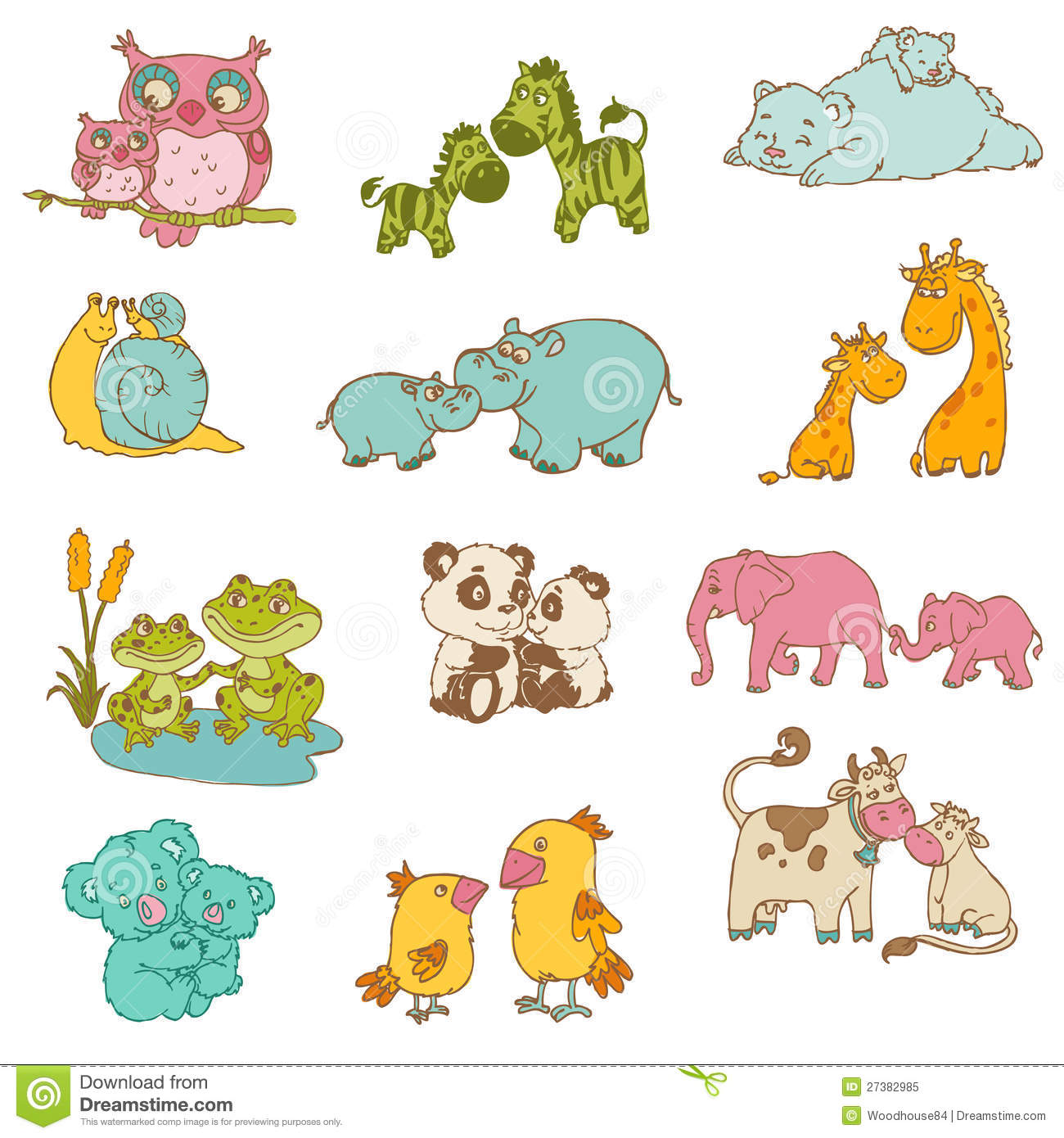 Mother And Baby Animal Clipart.