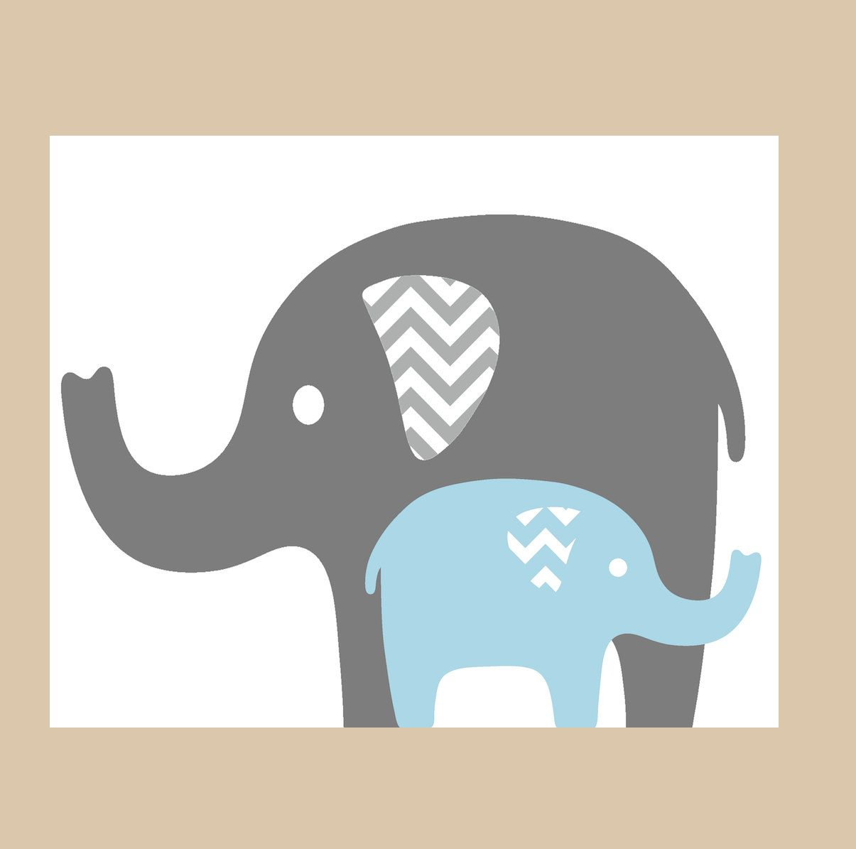 Modern Baby Elephant Clip Art Mommy and baby elephant.