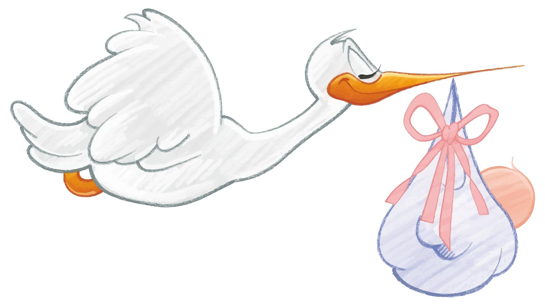 Baby Clipart Stork Carrying Baby.