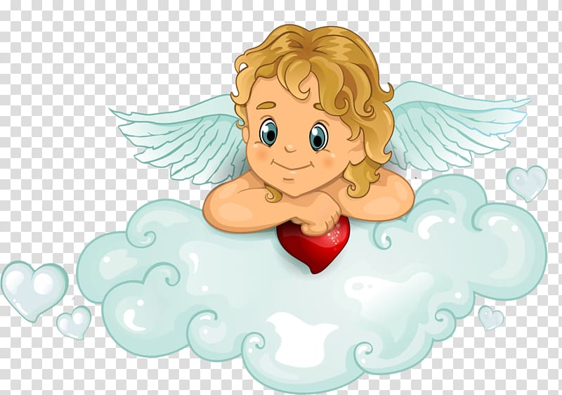 Cupid Heart, baby angel transparent background PNG clipart.