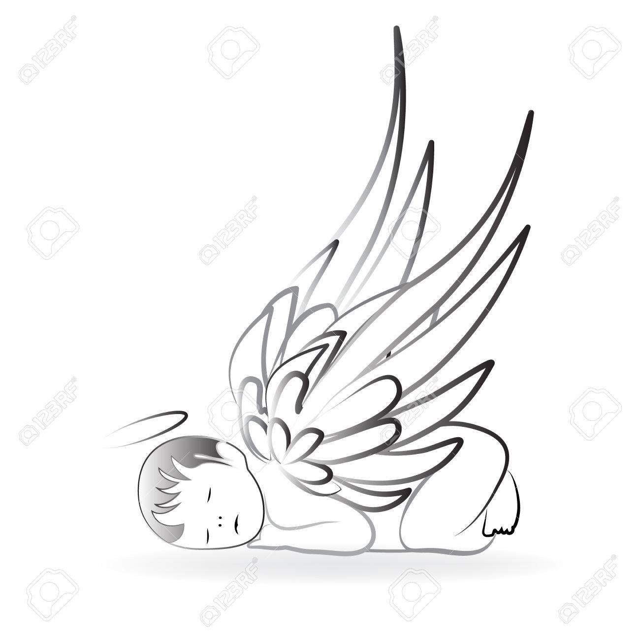 Baby Angel sleeping logo art vector.
