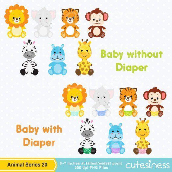 Baby Animal Clipart , Baby Animal Clip art, Baby Jungle.
